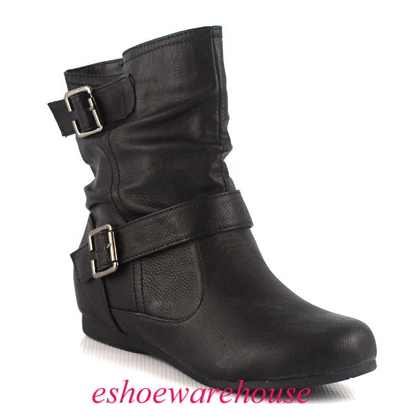 black leatherette awesome cutie comfy flat ankle