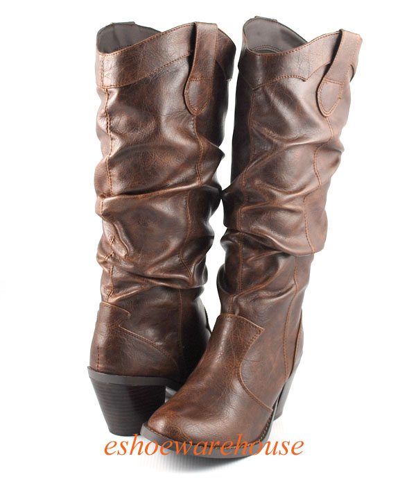 brown awesome slouch cowboy boots knee high