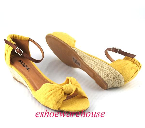 mustard yellow summer espadrilles low wedge sandals