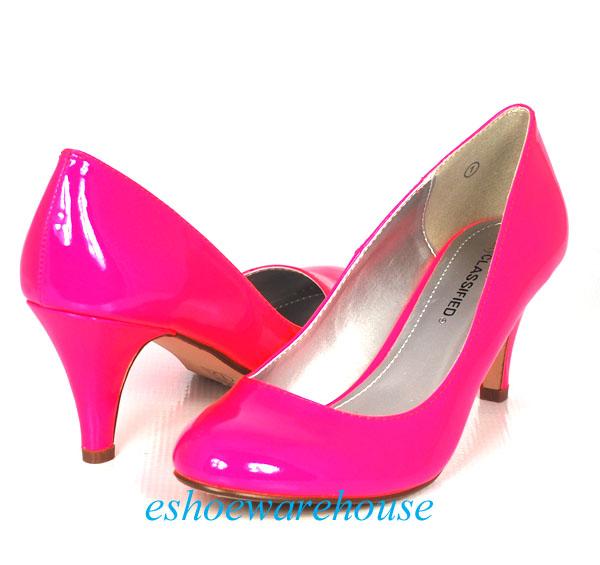 NEON Bright Hot Pink Patent Round Toe Cutie Comfy Mid Heel Pumps ...