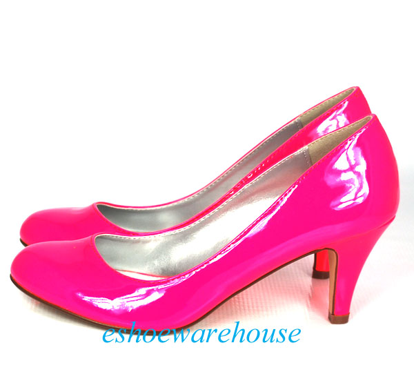 645e3db2c8a3 NEON Bright Hot Pink Patent Round Toe Cutie Comfy Mid Heel Pumps on ...