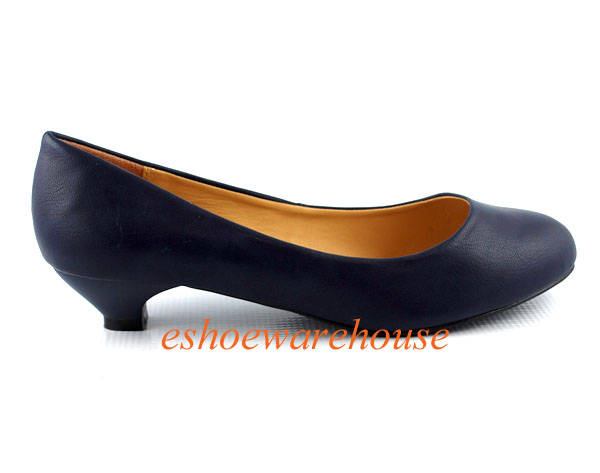 navy blue leatherette toe low knob heel so