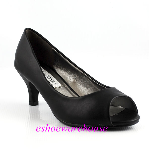 Leatherette-Open-Toe-Low-Mid-Heel-Cute-Must-Have-Dress-Pumps-Shoes