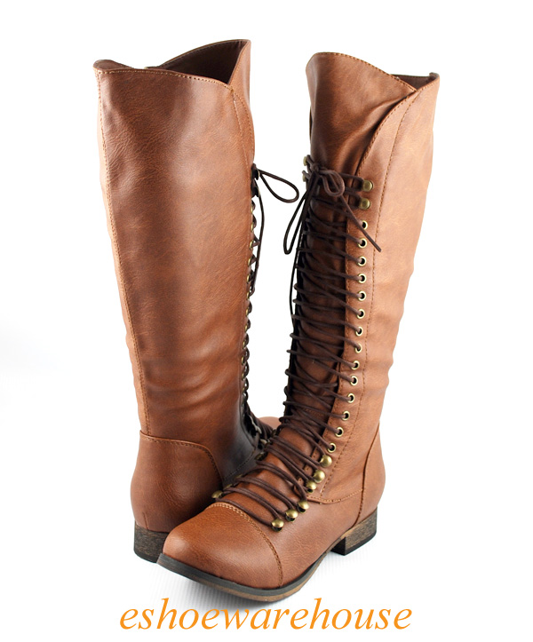 cognac cool comfy lace up flat knee high boots