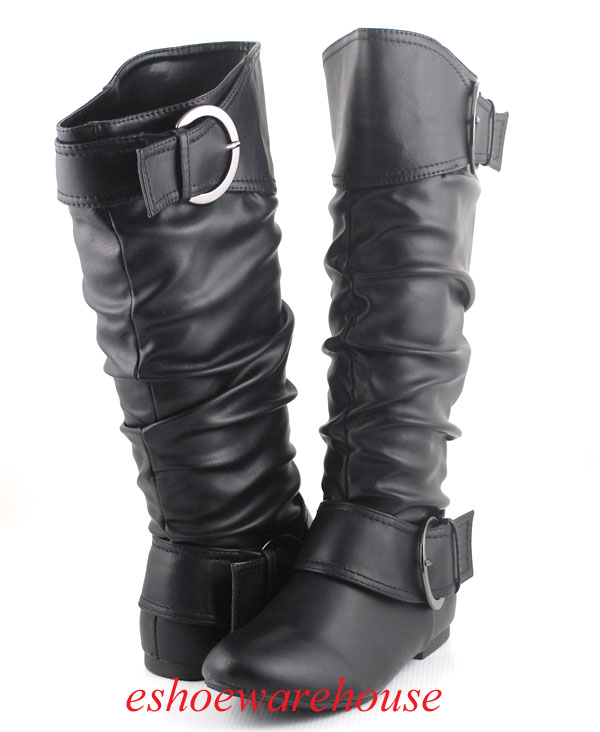 Black-Leatherette-Awesome-Cutie-2-Buckle-Detail-Slouch-Flat-Knee-Boots