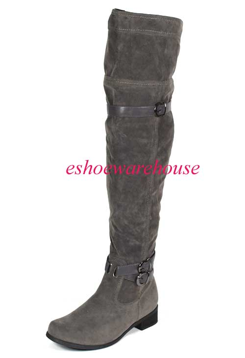 gray faux suede awesome the knee thigh high
